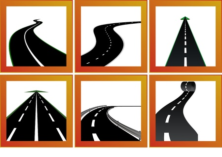 twist: Icons with abstract images of roads and road markings