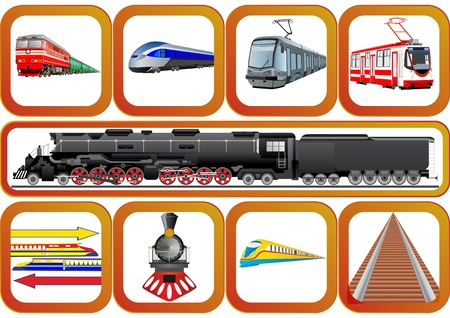 Badges with vehicles traveling on the railroad