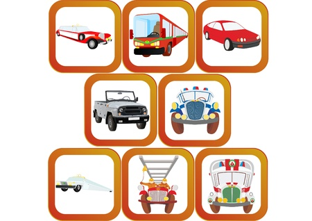 Badges with the automotive theme. Cars, buses and special vehicles. Stock Vector - 9345164