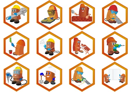 animation: Badges met de abstracte image builder. Diverse bouw specialiteiten. Stock Illustratie