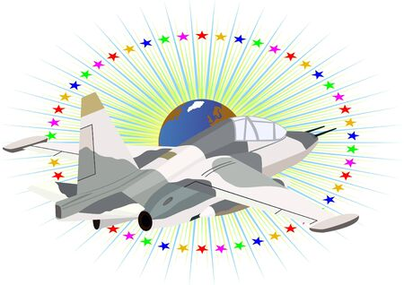 Modern military aircraft against a background of stars and planet Earth Stock Vector - 9361708
