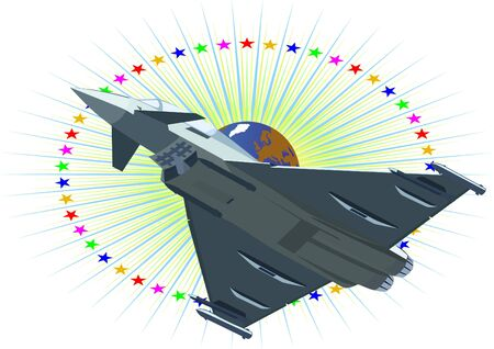 weaponry: Modern military aircraft against a background of stars and planet Earth