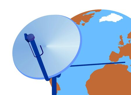 repeater: TV satellite dish on the background of the globe.