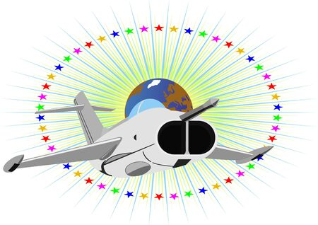 Modern military aircraft against a background of stars and planet Earth Stock Vector - 9361704