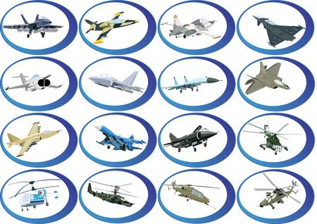 Airforce. Badges with military aircraft and helicopters. Vector