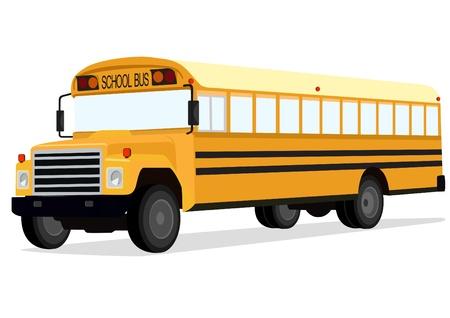 transport scolaire: Big bus scolaire jaune sur un fond blanc.