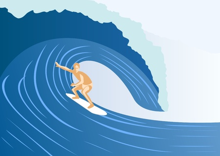 Summer kind of extreme sport. Surfer on the board glides over the waves Vector