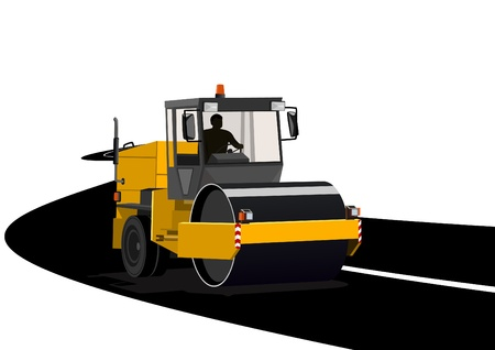 Road construction machinery during construction of the road. Stock Vector - 9450196