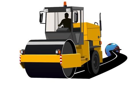 equipos trabajo: Maquinaria de construcci�n de la carretera durante la construcci�n de la carretera. Vectores