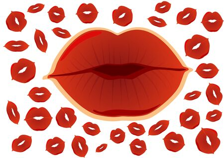 Lips against human footprints from kissing. Illustration