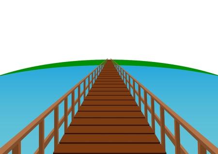 Puente de madera. Puente con tarimas de madera y pasamanos.
