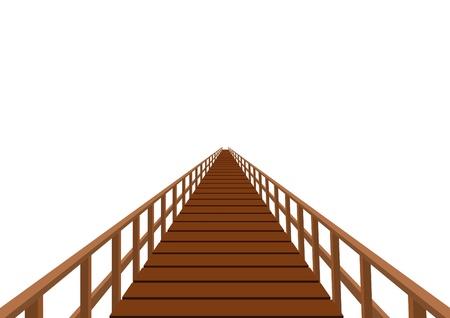 Puente de madera. Puente con tarimas de madera y pasamanos. Ilustración de vector