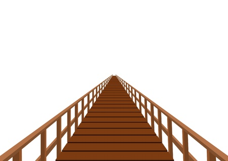 long distance: Wooden bridge. Bridge with wooden decking and railing.