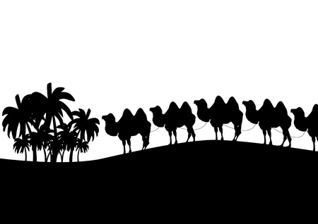 Black and white outline illustration which depicts a camel caravan