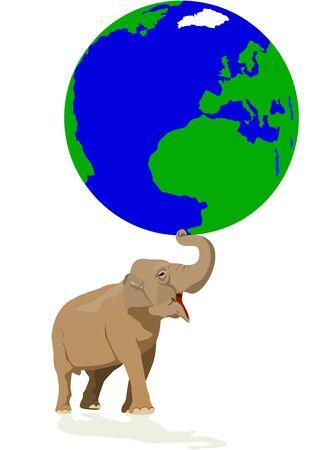象 - 動物の世界の最も大きい代表は地球を保持します。