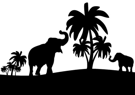 Black and white outline illustration which depicts elephants among the palms Vector