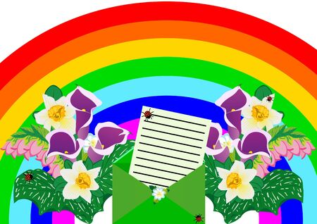 Mailing envelope with the seal and form a congratulatory letter on the background of the rainbow and bouquets of flowers Stock Vector - 9455566