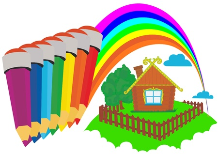 A wooden house on which painted a rainbow of colored pencils. Vector