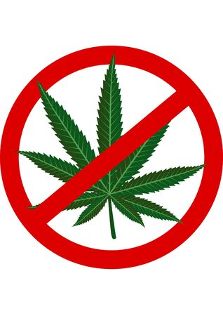 depicted: Cannabis leaf is depicted on the prohibitory