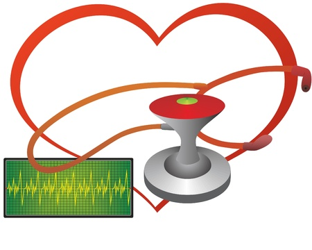 transducer: Stethoscope and the monitor shows a cardiogram at the background of the heart.