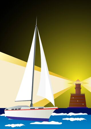 Architectural structure, a lighthouse. Sailing yacht and lighthouse standing on the beach serves light signal Vector