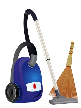 electric broom: Household electric appliance and broom for household cleaning. Illustration