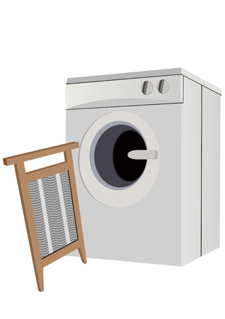 Consumer electronics and appliances for laundry. A modern washing machine and a washboard. Vector