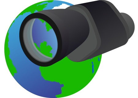 monocular: Monocular - optical instrument shown in the background of the Earth.