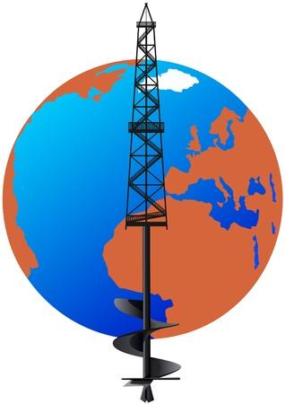 Ölbohrinsel mit einem abstrakten Bild des Bohrers vor dem Hintergrund des Planeten Erde.