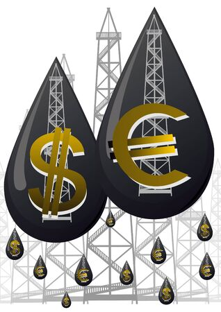 Oil droplet with a picture of them oil rigs and currency symbols on a background of petroleum drilling rigs Vector