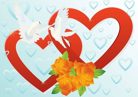 Two white doves flying in the background of two hearts and a bouquet of red roses. Stock Vector - 9612530