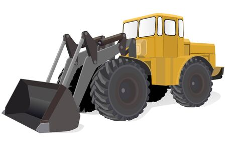 Modern wheeled tractors for construction or agricultural work. Vector