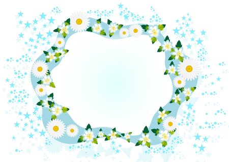 Abstract background of meadow and wildflowers on a white background surrounded by stars. Stock Vector - 9612566