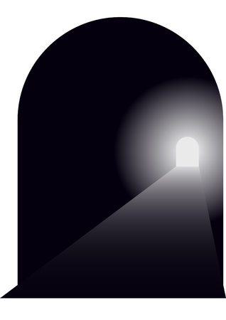 light tunnel: Entrance to the tunnel, the road stretches into the distance and the distance is seen leaving the tunnel. Illustration