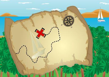 compas de dibujo: Antiguo pergamino que representa una ruta y destino. Pergamino con el tel�n de fondo de palmeras, el mar y las monta�as en el horizonte.