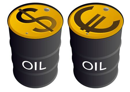 Iron barrels of oil products and images on them currency symbols. Vector