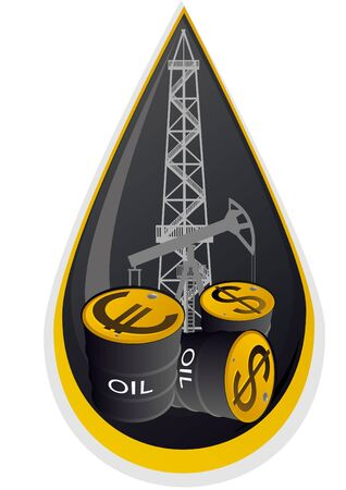 packaging industry: Iron barrels of oil products and images on them currency symbols against oil installations. Illustration on the background of the oil droplets.