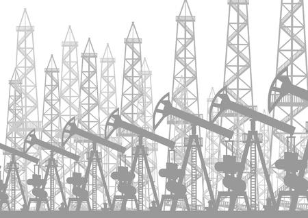 industria petrolera: Industria petrolera. Plataformas petrol�feras y bombas de petr�leo bomba de aceite. Vectores