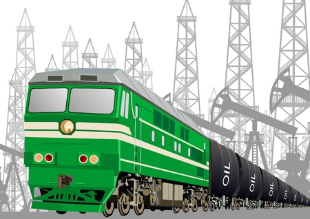 diesel train: Locomotive with oil tankers to transport petroleum products against oil installations.
