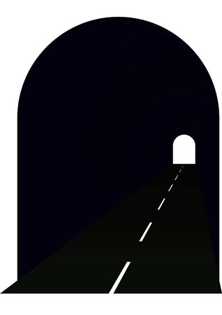 Entrance to the tunnel, the road stretches into the distance and the distance is seen leaving the tunnel. Vector