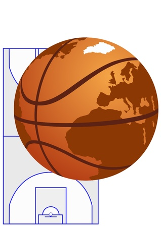 Abstract image of a basketball with the image on the world map it against the basketball court. Vector