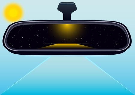 new day: Specchio di auto che riflette la notte. Verso un nuovo giorno. Vettoriali