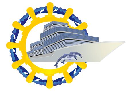 Sea cruise liner and diving near Dolphins against the wheel, and ocean waves. Vector
