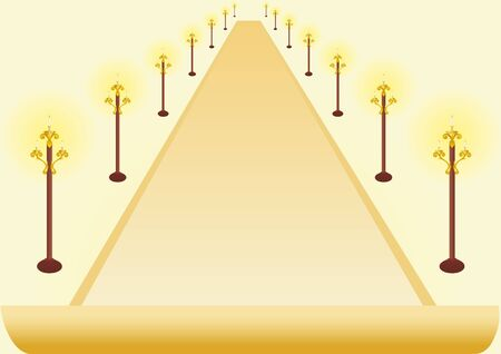 fixtures: Abstract image of the avenue lined with poles with lighting fixtures.