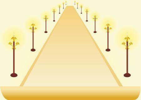 lighting fixtures: Imagen abstracta de la avenida bordeada con postes de iluminaci�n.
