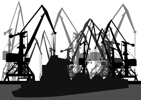 port: Port cranes and loaded barge. Black and white outline image. Illustration