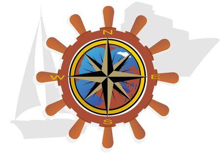 puntos cardinales: Volante con globo y que indica los puntos cardinales en el fondo de barcos de vela y cruceros. Vectores