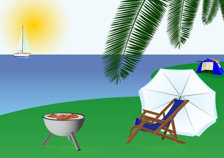 sonnenschirm: Sommer Meereslandschaft. Auf dem Meer, Segelyachten. Am Ufer stehen Grill zum Kochen Gartengrill, Liegest�hle, Sonnenschirm und stellen weg touristischen Zelt. Illustration