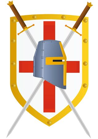 shield and sword: Two knights of the sword and helmet knight against knight crusader shield.