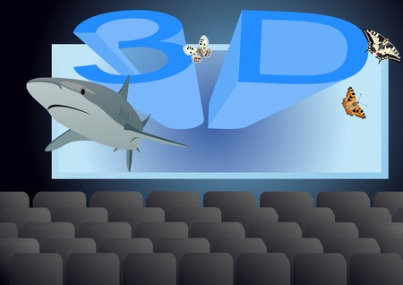 cinema screen: Movie screen and seats for spectators in the theater. Contemporary cinema in 3D.